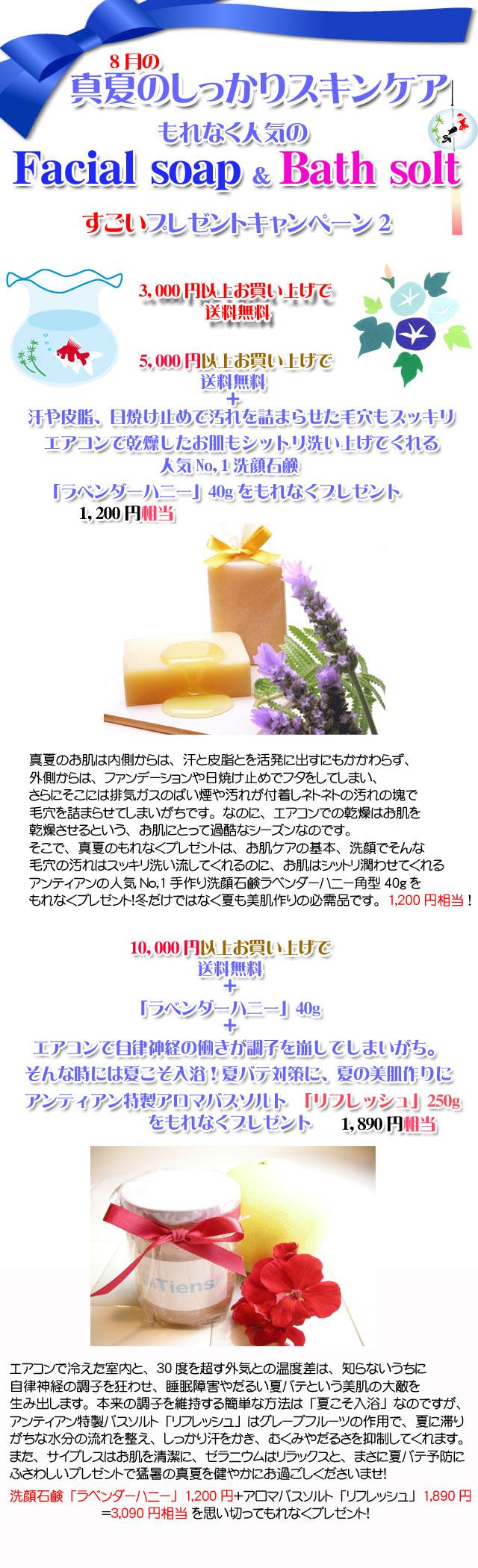 手作り石鹸アンティアンの8月のキャンペーンcopy