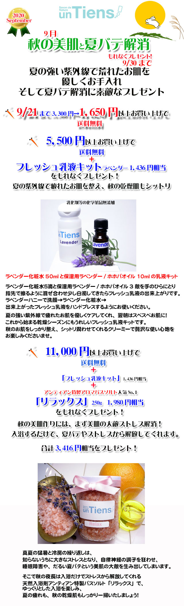 手作り石鹸アンティアン2009今月のキャンペーンcopy