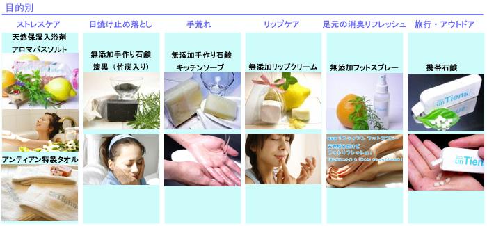 無添加手作り石鹸アンティアン目的別商品分類